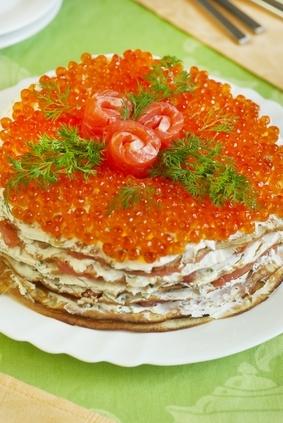 блинный пирог с икрой