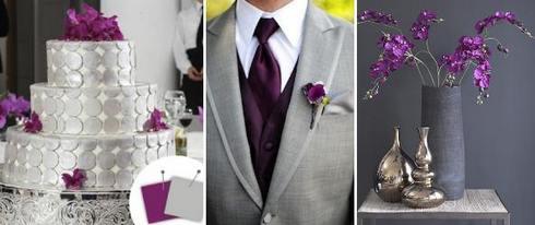 серо-фиолетовое сочетание на свадьбе