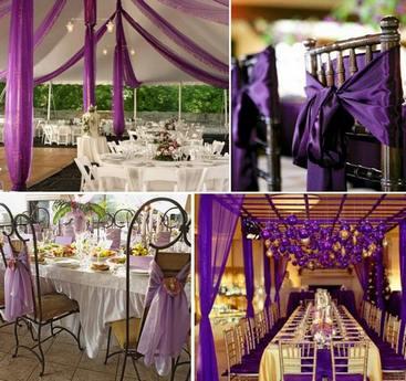 украшение свадьбы фиолетовыми тканями