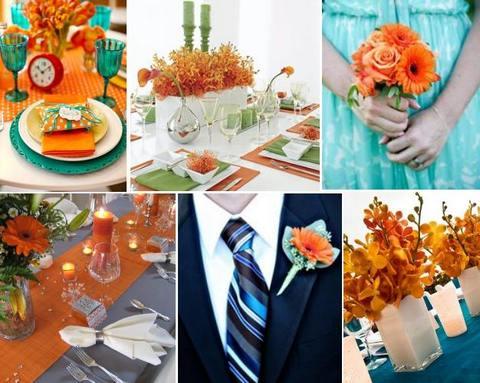декор свадьбы в оранжевом цвете