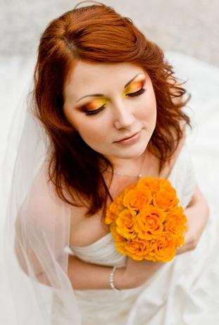 оранжевый макияж невесты