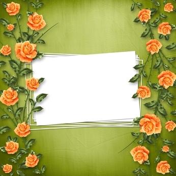 зелено-оранжевое приглашение на свадьбу