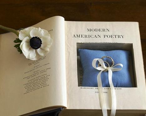 подушечка для колец в книге
