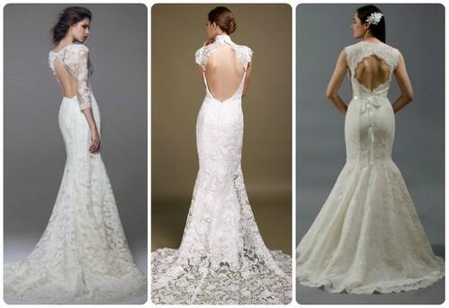 свадебные платья с кружевной спиной, фото