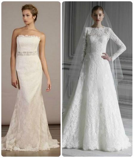 фасоны кружевных свадебных платьев