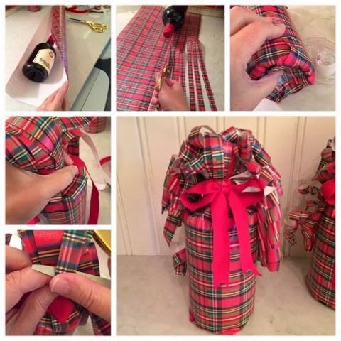 как завернуть подарочную бутылку в бумагу