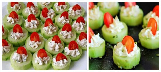 праздничные закуски с огурцами и помидорами
